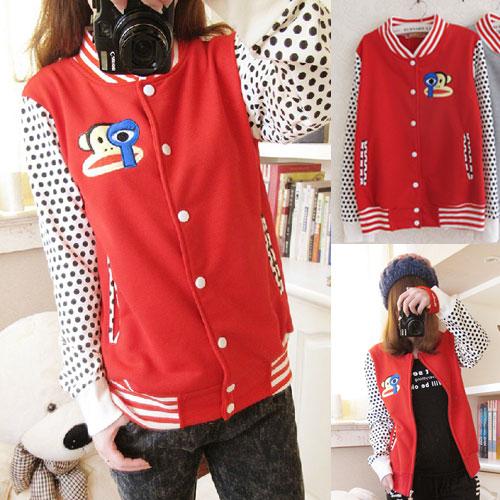 ++สินค้าพร้อมส่งค่ะ++ เสื้อ Jacket เกาหลี แขนยาว แต่งซิบหน้า ดีไซด์ Paul Frank น่ารักมากๆ ค่ะ เนื้อผ้านิ่มค่ะ – สีแดง