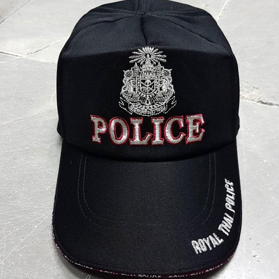 หมวกแก็ป ซิป แผ่นดิน POLICE แดง