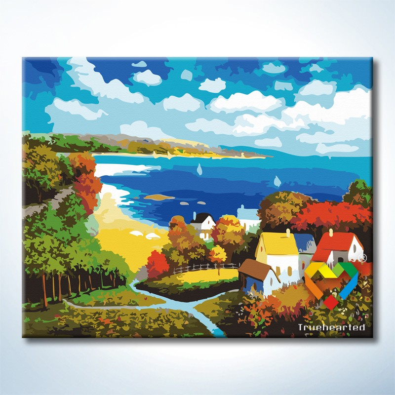 รหัส HB4050034 ภาพระบายสีตามตัวเลข Paint by Number แบบ Colorful Autumn ขนาด40x50cm/พร้อมส่ง