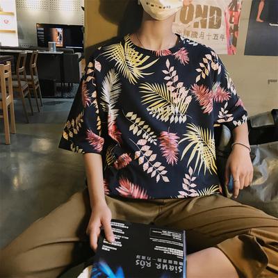 เสื้อยืดแขนสั้นเกาหลี ทรงหลวม แต่งลายใบไม้ทั้งตัว มี2สี