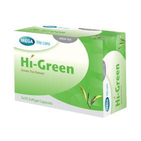 Mega We Care HI-GREEN เมก้า วีแคร์ ไฮ กรีน ชาเขียวสกัด 30 แคปซูล