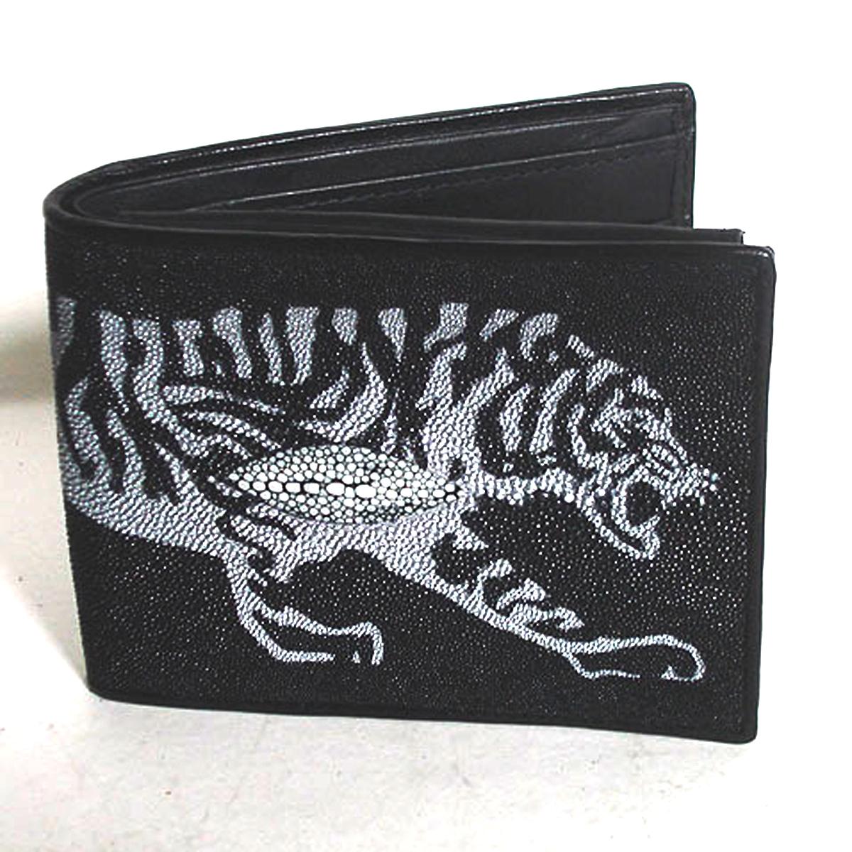 กระเป๋าหนังปลากระเบน ลายเสือขาว มีมุข