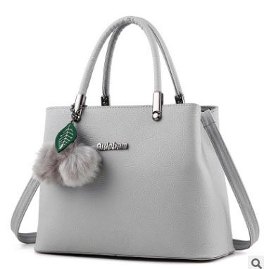 Pre-order ขายส่ง กระเป๋าถือและสะพายข้างผู้หญิง กระเป๋าทำงาน แฟชั่นเกาหลี รหัส KO-949 สีเทา *แถมพู่เชอรี่