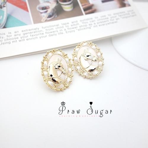 Creamy white horse golden Earrings