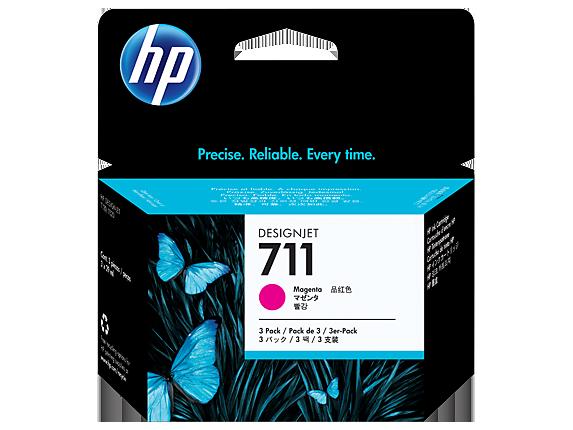 HP 711 3-pack 29-ml ตลับหมึกอิงค์เจ็ท สีม่วงแดง Magenta Original Ink Cartridge (CZ135A)