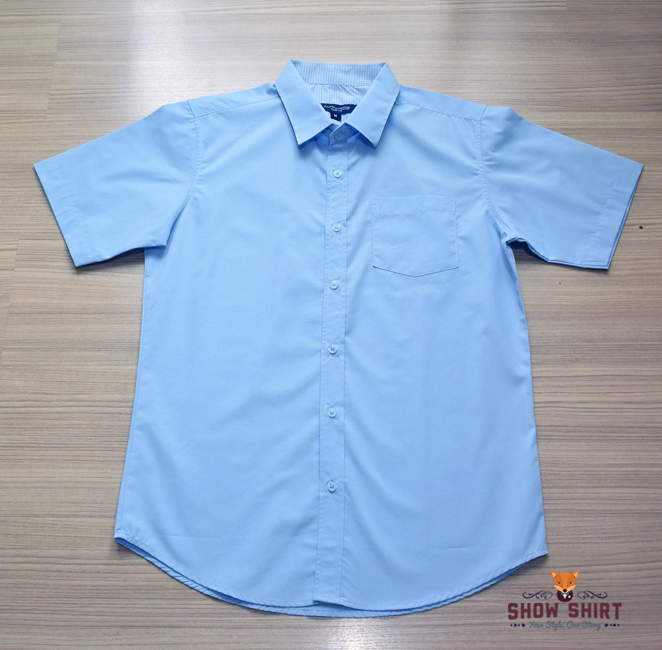 เสื้อเชิ้ตแขนสั้น สีฟ้า