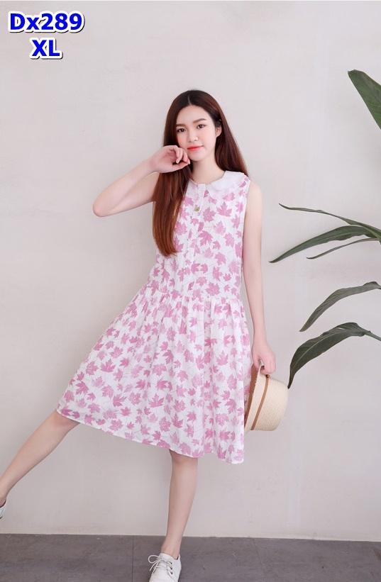 #Dressกระโปรงผ้าฝ้ายสีขาว ลายใบไม้สีชมพูคอบัว ปกคอบัวเป็นผ้าชีฟอง แขนกุด ผ้าเนื้อดีใส่สบาย มีสไตล์น่ารักมากค่ะ