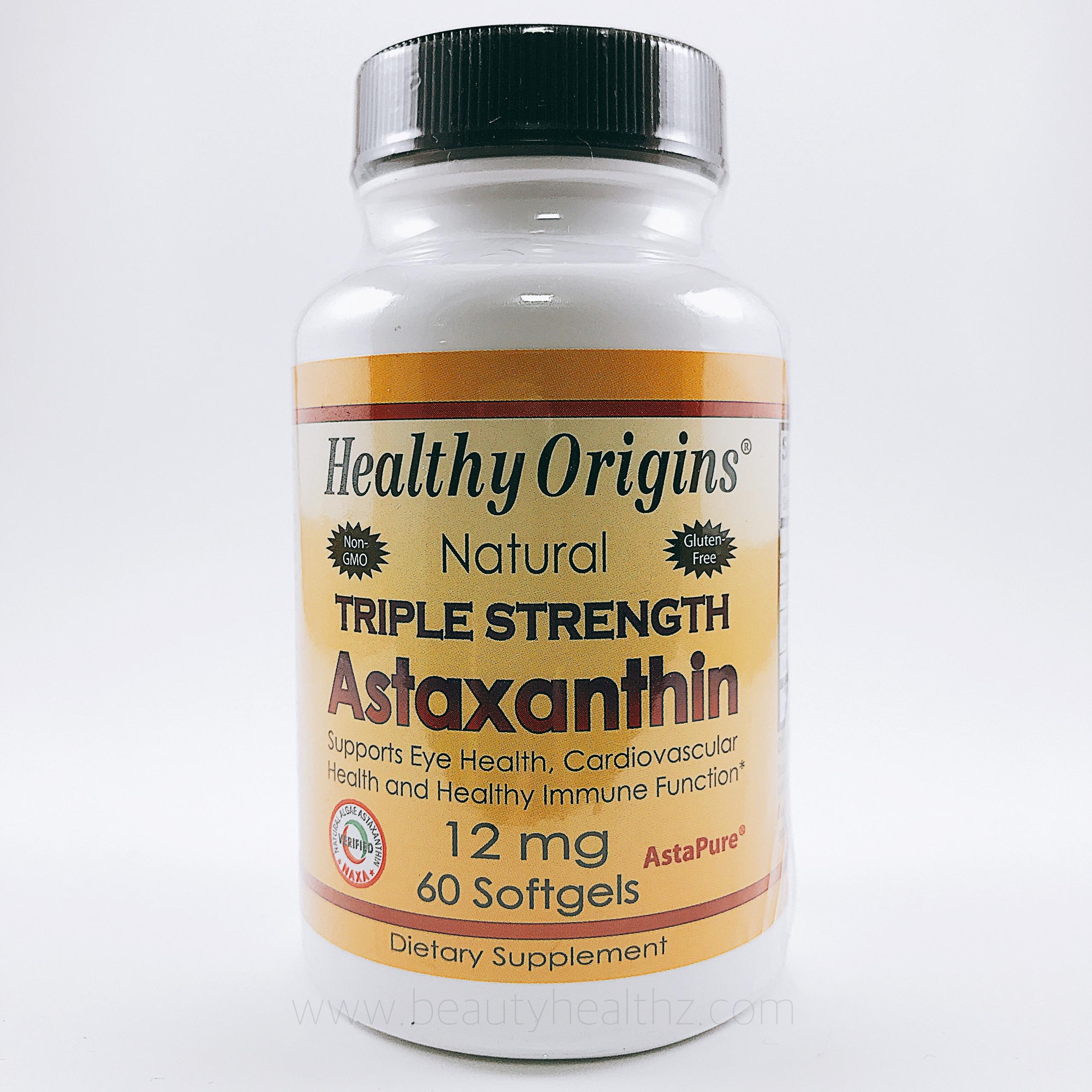 Healthy Origins, Natural Triple Strength Astaxanthin, 12 mg, 60 Softgels