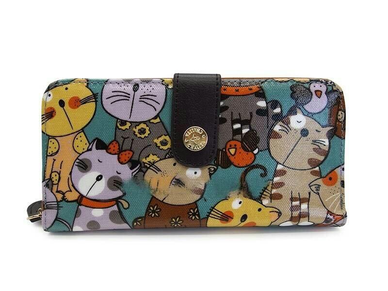 กระเป๋าสตางค์ Chalita wu สีเขียว ลายแมว