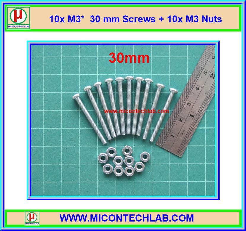 10x M3* 30mm Screws + 10x M3 Nuts (สกรูหัวกลม+น็อตตัวเมีย ขนาด 3มม ยาว 30มม)