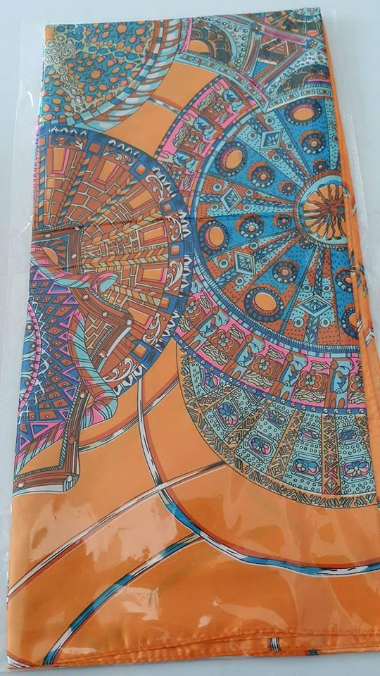 ผ้าพันคอผ้าซาติน Orange Classis