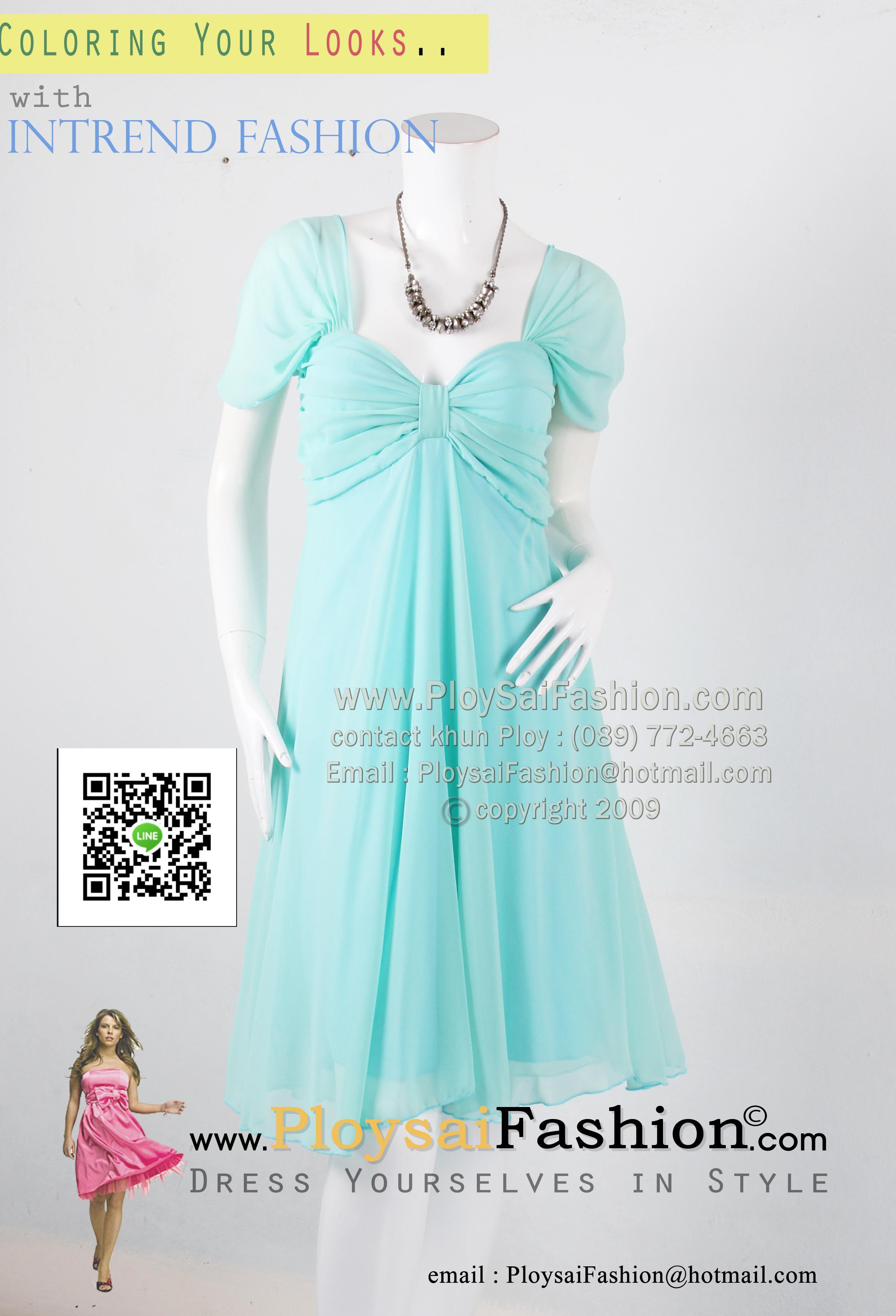 an019 - ชุดไปงานแต่ง (สาวอวบใส่ได้)ผ้าซีฟองเขียวมินต์ ช่วงอกดีไซน์เว้าสวยได้รูป สวยเรียบร้อยสุดๆค่ะ