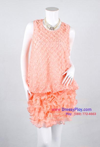 ao289 - ชุดไปงานแขนกุด ผ้าซีฟองสีโอรสหวานๆ จับผ้าเป็นดอกทั้งตัว ช่วงชายระบายพริ้วๆ สวยหวานๆหรูสุดๆเลยค่ะ