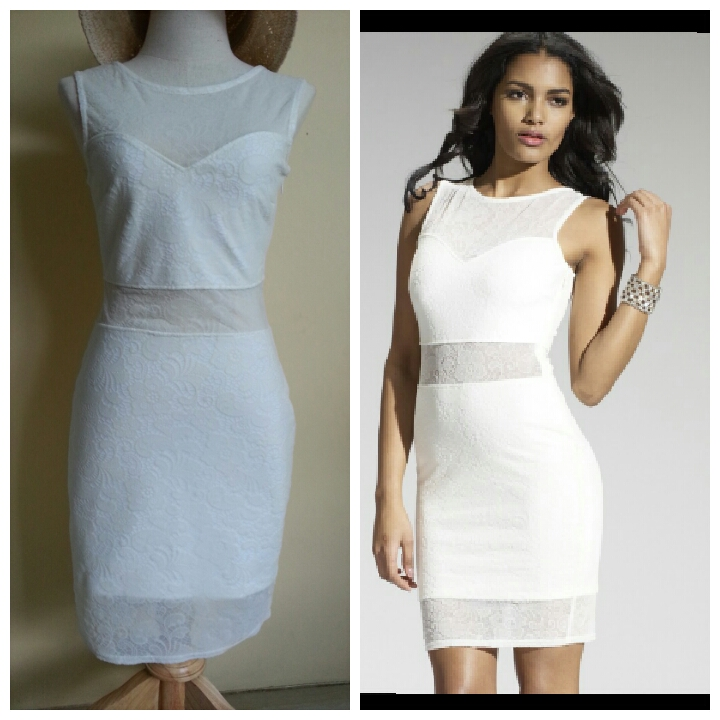Lipsy White Mesh Dress Size uk10